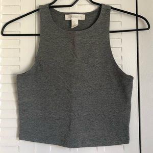 High neck sleeveless crop top